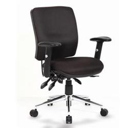 Chiro Task Operators Chair Black Fabric With Arms Medium Back Ref OP000010