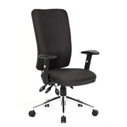 Chiro Task Operators Chair Black Fabric With Arms High Back Ref OP000006