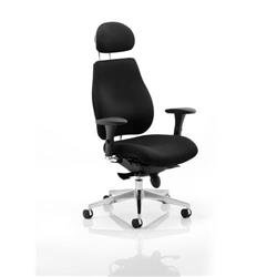 Chiro Plus Ergo Posture Chair Black Fabric With Arms Fabric With Headrest Ref PO000002