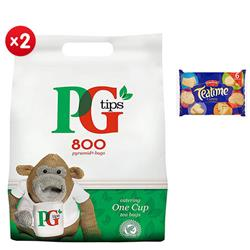PG Tips 1 Cup Tea Bags Ref 67422456 [Pack 800] - x2 + FREE Crawford Teatime Biscuits