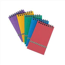 Notepad Wirebound Elasticated Ruled 90gsm 120 Pages 176x76mm Assorted A - Pack 20