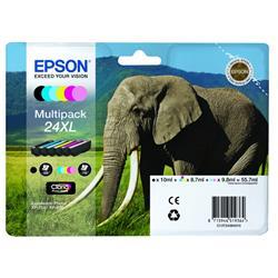 Originale Epson C13T24384010 - Conf. 6 cartucce A.R. RS Claria Photo HD 24XL/ELEFANTE 6 colori