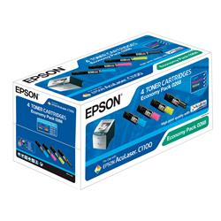 Originale Epson - laser - Toner Economy Pack 0268 - nero + 3 colori - C13S050268 - conf. 4