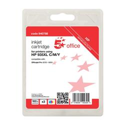 5 Star Office Remanufactured Inkjet Cartridge Page Life 2475pp C/M/Y [HP No. 935XL Alternative] [Pack 3]