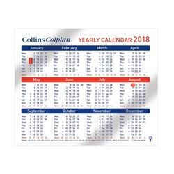 Collins Colplan Yearly Calendar 210 x 260mm Ref CDS1 2018