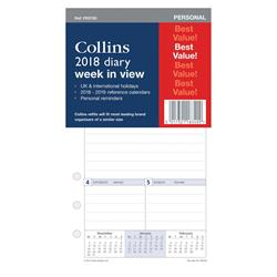 Collins 2018 Personal Diary Refill Week to View Ref PR2700-18