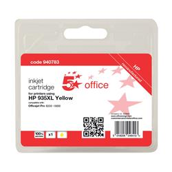 5 Star Office Remanufactured Inkjet Cartridge Page Life 825pp Yellow [HP No. 935XL C2P26AE Alternative]