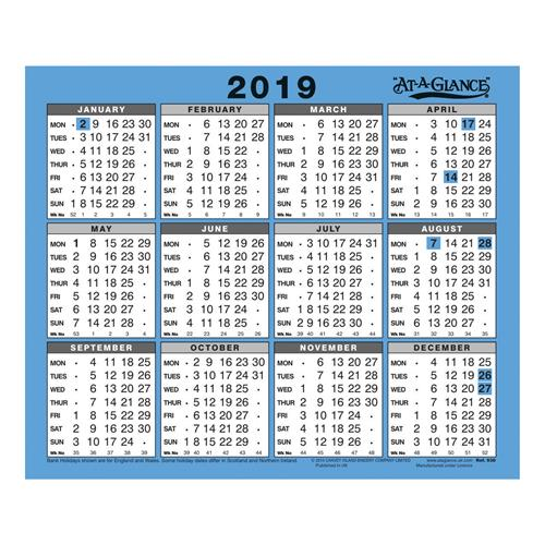 At-A-Glance 2019 Wall/Desk Calendar Year To View Gloss
