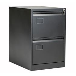 Bisley 2 Drawer Contract Steel Filing Cabinet - Black Ref AOC2BLK