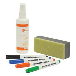 5 Star Office Whiteboard Starter Kit 4 Markers Eraser and 125ml Cleaning Fluid Spray