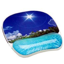 Mousepad con poggiapolsi Photo Gel Fellowes - spiaggia tropicale