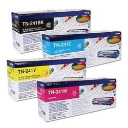 Brother TN241 Toner Cartridge Bundle Cyan, Magenta, Yellow, Black [Pack 4]