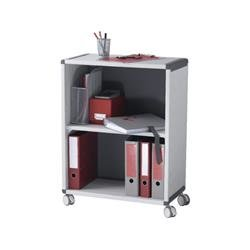 Fast Paper Mobile 2 Compartment Bookcase Grey/Charcoal Ref FDM2K211