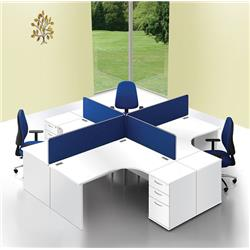 Lyle Desk Mounted 1400mm Screen with Straight Top with Brackets - Blue Ref ZL-ST-1438BLUE