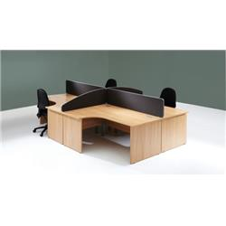 Lyle Desk Mounted 1400mm Screen with Straight Top with Brackets - Black Ref ZL-ST-1438BLK