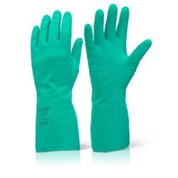 Click2000 Nitrile Gauntlet Flocked Lined Size 11 2XL Green Ref NGXXL [Pack 10]