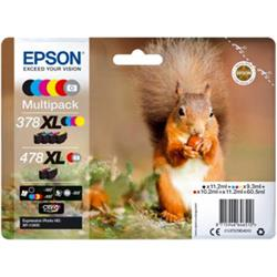 Epson Squirrel Multipack (60.5ml) Claria Photo HD Ink Cartridges - 6 Colours (Black/Yellow/Cyan/Magenta/Red/Photo Grey)