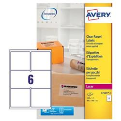 Avery Parcel Labels Clear Gloss Laser 99.1x93.1mm Ref L7566-25 [Pack 25]