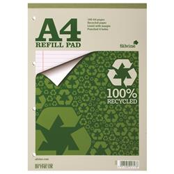 Silvine Everyday Refill Pad Recycled Topbound Ruled Margin 160pp 70gsm A4 Ref RE4FM - Pack 6