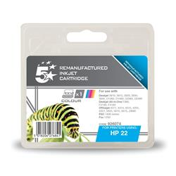 5 Star Office Remanufactured Inkjet Cartridge Page Life 280pp Colour [HP No. 22 C9352A Alternative]