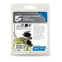 5 Star Office Remanufactured Inkjet Cartridges Black/Colour [Epson T07154010 Alternative] [Pack 4]