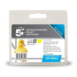 5 Star Office Remanufactured Inkjet Cartridge Page Life 700pp Yellow [HP No. 920XL CD974AE Alternative]