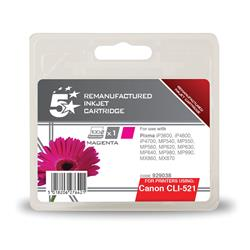 5 Star Office Remanufactured Inkjet Cartridge Page Life 470pp Magenta [Canon CLI-521M Alternative]