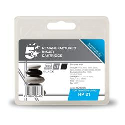 5 Star Office Remanufactured Inkjet Cartridge Page Life 300pp Black [HP No. 21 C9351A Alternative]