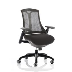 Flex Task Operator Chair Black Frame Black Fabric Seat With Black Mesh Back With Arms Ref KC0213