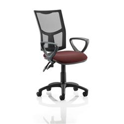 Eclipse II Lever Task Operator Chair Black Mesh Back With Colour Seat With Loop Arms In Chilli Ref KCUP1022