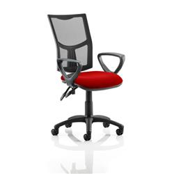Eclipse II Lever Task Operator Chair Black Mesh Back With Colour Seat With Loop Arms In Cherry Ref KCUP1017