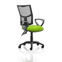 Eclipse II Lever Task Operator Chair Black Mesh Back With Colour Seat With Loop Arms In Swizzle Ref KCUP1018