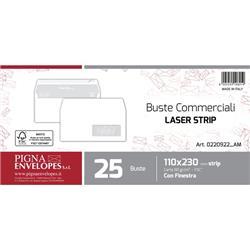 Buste per stampa laser con finestra Pigna - strip - 11x23 cm - 90 g - conf. 25