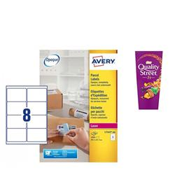 Avery L7165 Laser Printer Labels 8 Labels Per Page 99.1x67.7mm Ref L7165-500 - 500 Sheets - FREE Quality Street Chocolates 265g