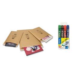 Jiffy Airkraft No.4 Gold Bubble Bag Envelopes 230x320mm Ref JL-GO-4 - Pack 50 - FREE Pilot Permanant Markers