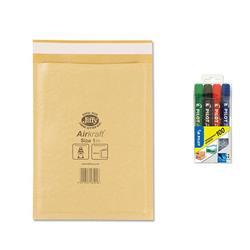 Jiffy Airkraft No.1 Gold Bubble Bag Envelopes 170x245mm Ref JL-GO-1 - Pack 100 - FREE Pilot Permanant Markers